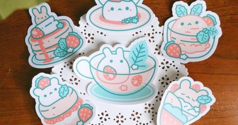 quiescentsnow – Strawbunny Mint Tea and Friends stickers