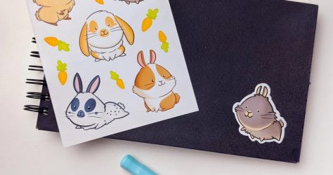 BirdieTam – Cute bunny sticker sheet