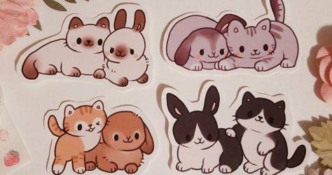 bunny and cat best friends sticker set by peacheybun