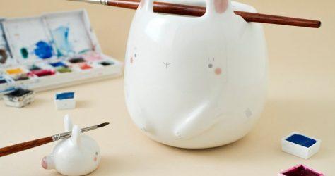 TramaiCeramics – Ceramic bunny water cup and brush rest