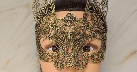 SS Bunny Imports – Gold lace bunny masquerade mask
